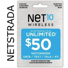NET10 $50 Unlimited Airtime Prepaid TopUp Card talk, text, web/email, 411 ReFill Card PIN Load Service