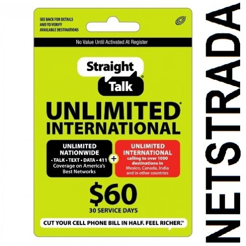 Straight Talk $60 Prepaid service Top Up Refill Reload Card PIN Load