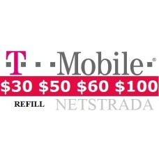 T-Mobile $30 $50 $60 $100 Monthly 4G Refill Unlimited Text, Talk and Web service 100Mb PIN Phone Top Up Today!