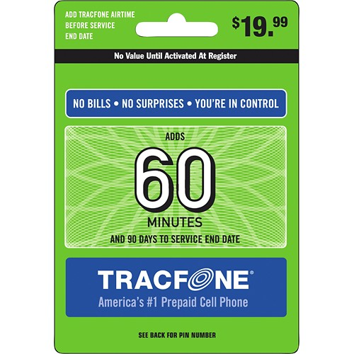 60 Minutes TracFone Prepaid Wireless Top Up AirTime Card