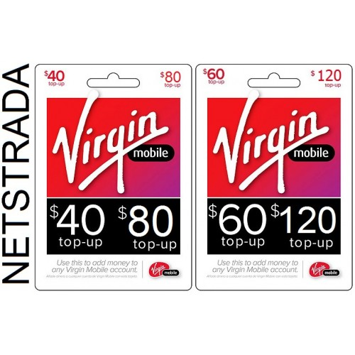 Virgin Mobile $40 $60 $80 or $120 Prepaid Phone refill top up card